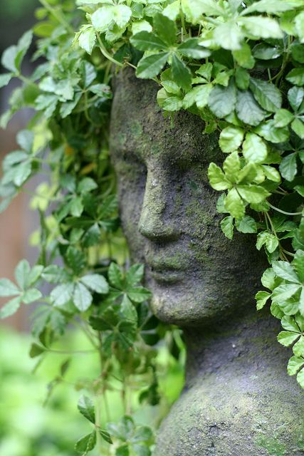 If I could get a statue like this with a space or hole to plant a vine (even if I drill my own) this would be an interesting feature in the garden just to watch the 'hair' grow!