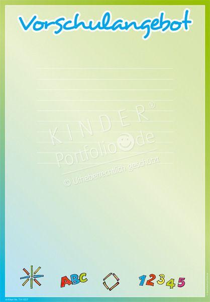 """Kindergarten Portfolio Vorlagen """"Vorschulangebot"""""""