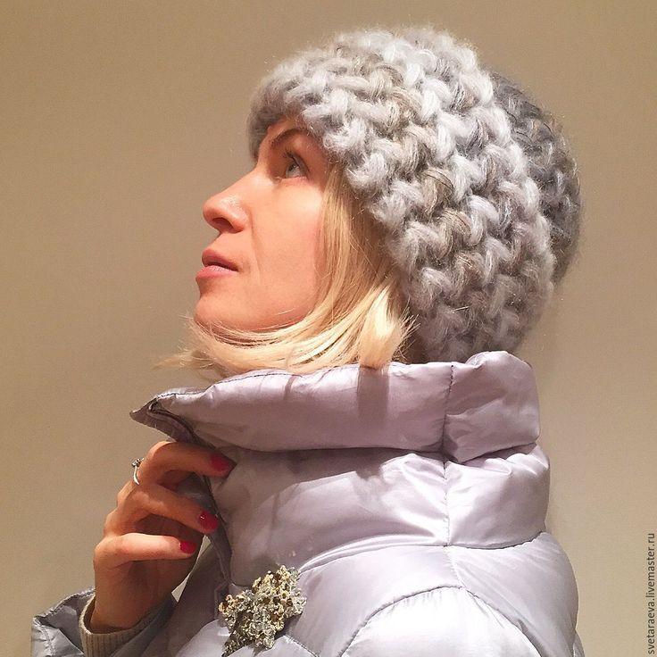 """Купить Шапка """"Эдельвейс"""" вязанная из кид-мохера, вязаная, женская, тёплая - шапка, шапка вязанная"""