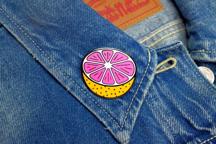 """It's back and bigger than ever! Our grapefruit brooch has doubled in size!!-1-1/2"""" hard enamel pin-Gunmetal colored metal-2mm thick-Double posts with rubber pin"""