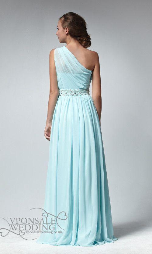 Long Chiffon Aqua Blue Grecian One Shoulder Bridesmaid Dress DVW0022 | VPonsale Wedding Custom Dresses