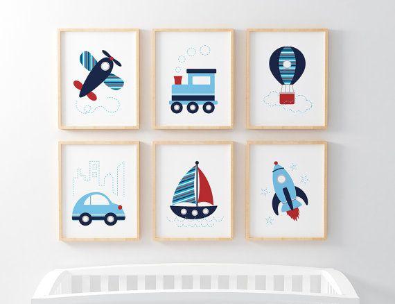Baby Boy Nursery Transport Prints Toddler Bedroom Digital