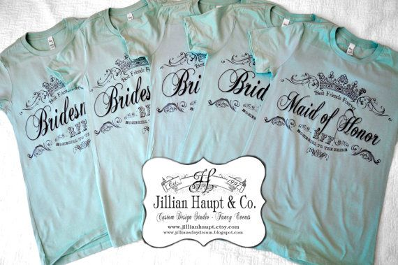5 Custom Personalized Bridesmaid T Shirt wedding, engagement, bachelorette party on Etsy, $90.00