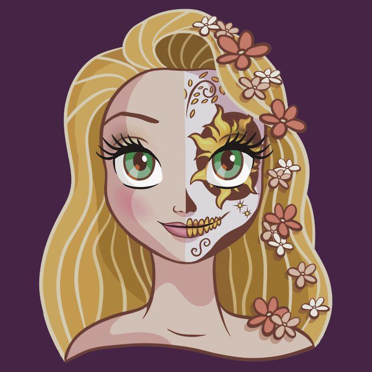 Sugar skull series rapunzel by ellador disney for Princesas disney tattoo