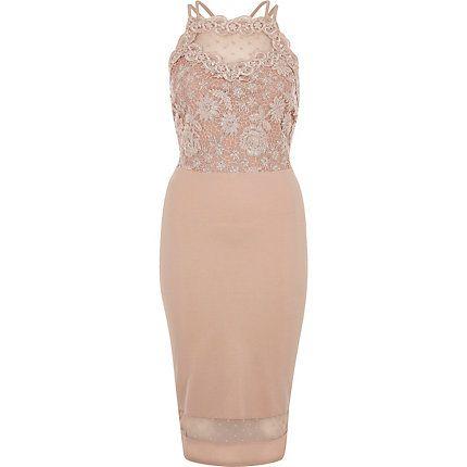 Pink sleeveless lace bodycon dress £40.00