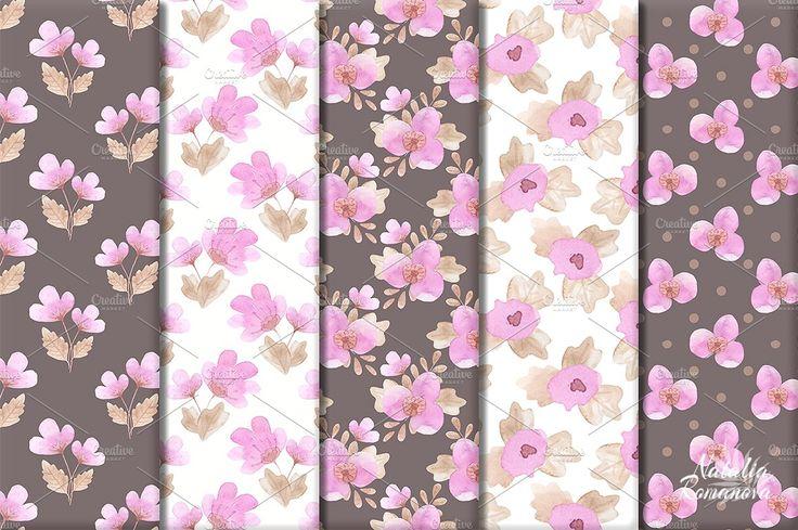Flower fuchsia patterns watercolor  by Natali_art on @creativemarket