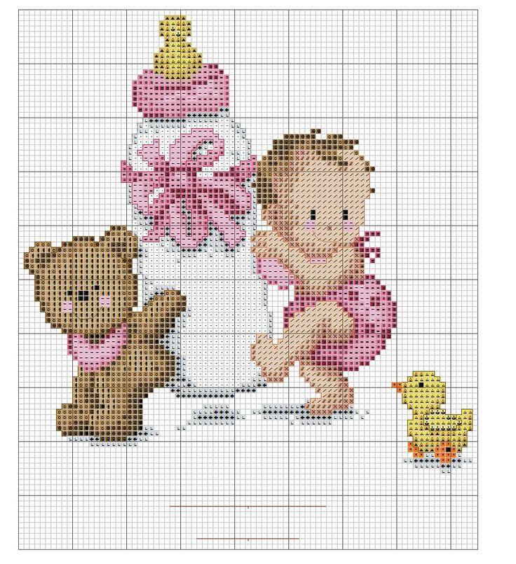 Baby and teddy bear x-stitch