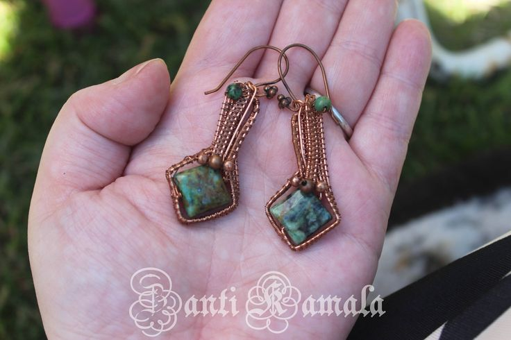 Wire wrapped earrings and african jade