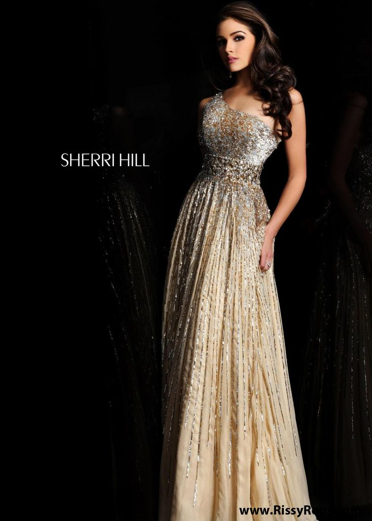 Buy now Sherri Hill 8506 nude one shoulder prom dresses available now at RissyRoos.com.