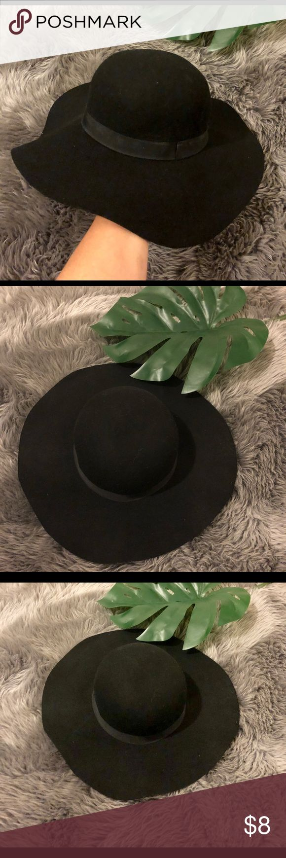 JLo style floppy hat Black floppy hat. Black ribbon. Accessories Hats