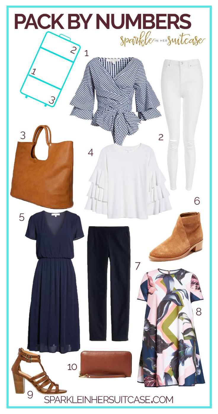 Packing in a similar color scheme makes it easy to pack quickly and avoid having to pack a million different pairs of shoes and accessories to go with everything you're bringing. Let me show you how to pack by numbers.