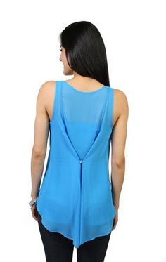 Idea for altering too-full tops.  chiffon tank with button back detail