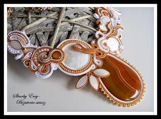 #sutasz #soutache #naszyjnik Naszyjnik sutasz z agatem Skarby Ewy... Biżuteria sutasz
