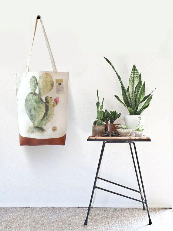 Tote Bag CACTUS - 100% Organic Cotton - Watercolor Handpainted - Premium Quality -  Leather - Cactus Print