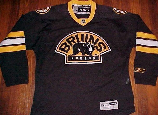 Reebok NHL Boston Bruins Men's Black Team Logo Hockey Jersey L #Reebok #BostonBruins
