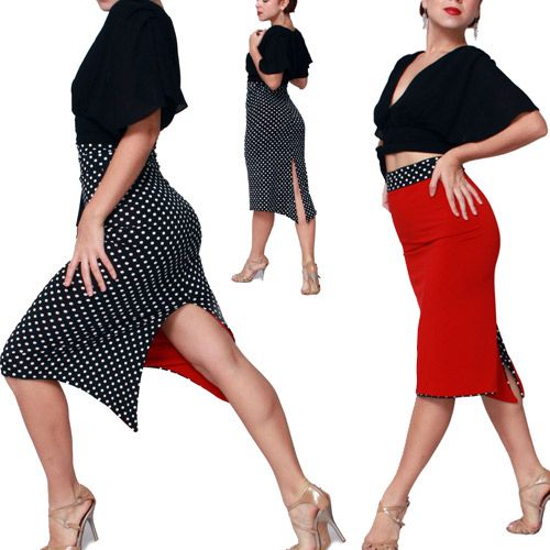 Red Tango Skirt (reversible) Tango dancewear [Sel-Et-Tan-24red] - $143.00 : Latin dance wear, ballroom dance shoes, latin dance skirts & Salsa dresses.
