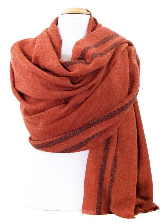 Etole laine fine brique tissée avec rayures. Etoles 100% laine découvrez +  de 100 8fc62954aad