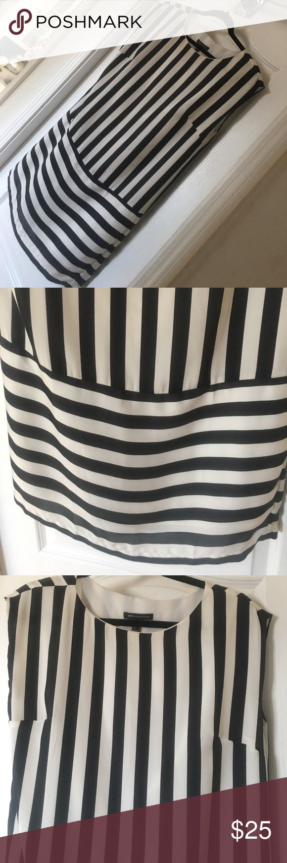 Mango Collection Black/white stripe Dress! Sz 6 Mango Collection Dress, classy dress! Excellent Condition! Very soft. Feel free to place offers or Trades! ;) Mango Dresses