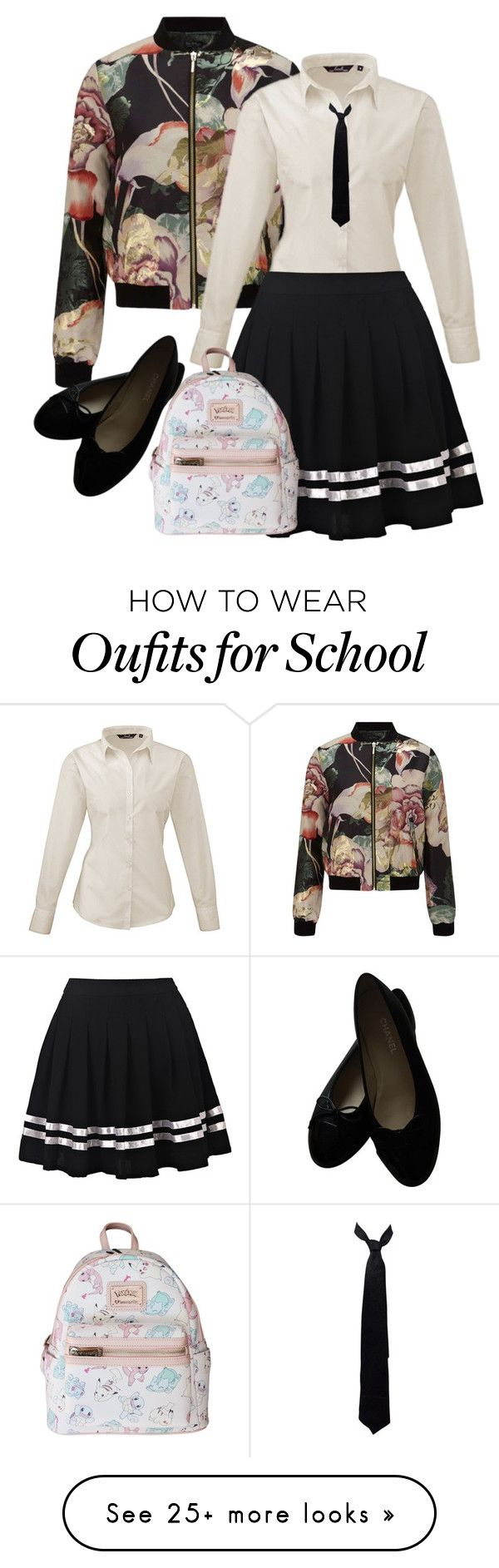 """Back to school"" by zemnaya on Polyvore featuring Miss Selfridge, Balenciaga, Chanel, Loungefly and BackToSchool"
