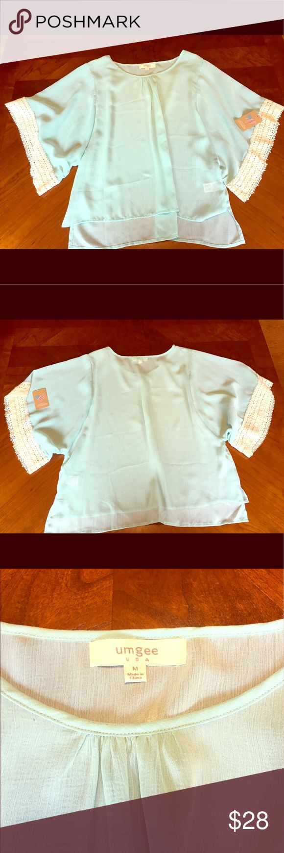 NEW American Threads: Stylish Mint Blouse Stylish mint Blouse from American Threads.  Cream designed sleeves. Size medium American Threads Tops Blouses