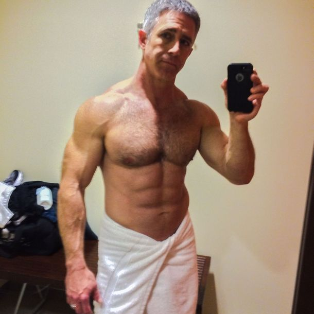 fit mature 50yr old in shower