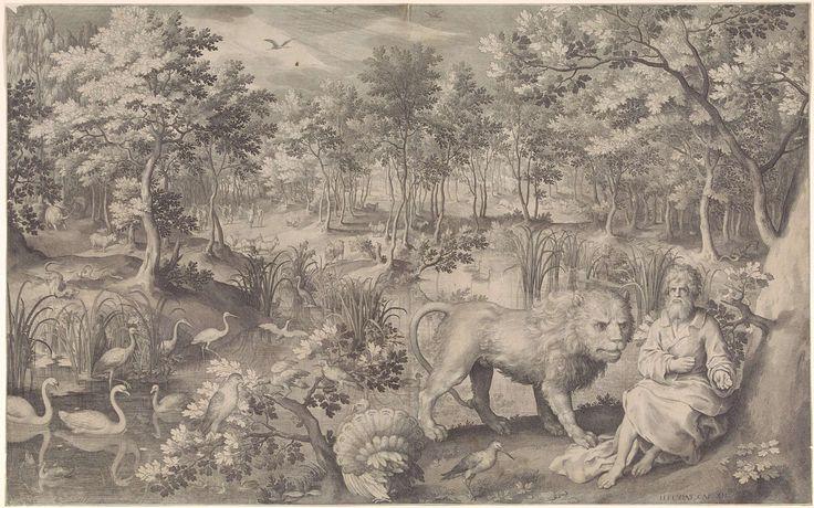 Nicolaes de Bruyn | Jeremia in de wildernis, Nicolaes de Bruyn, 1608 | De profeet Jeremia in de wildernis. Rondom hem verschillende wilde dieren, waaronder een leeuw. Een onderschrift bij de prent verwijst naar de profetie van Jeremia 12.