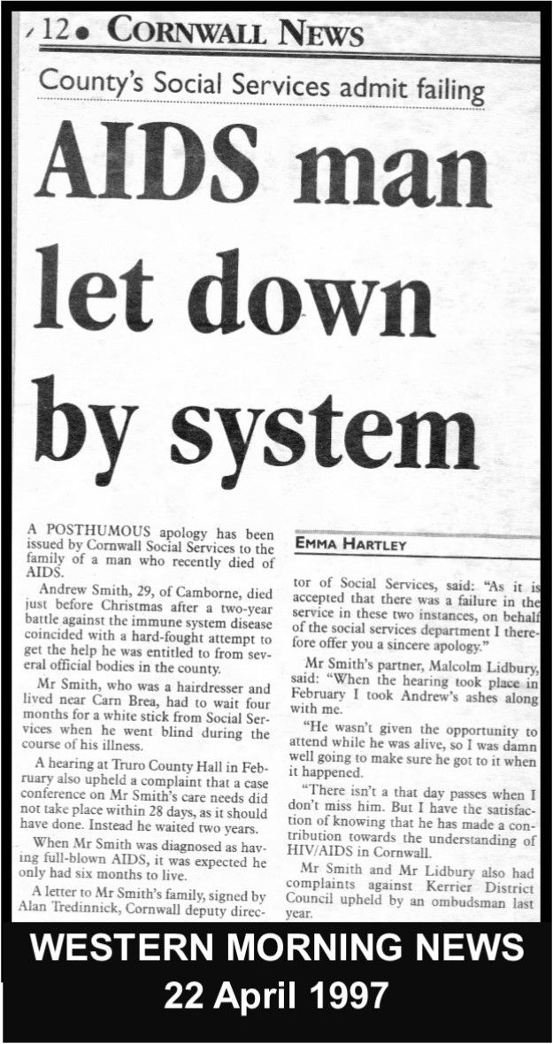 Lidbury continued to challenged Cornwall's homophobic authorities winning a posthumous complaint from County Hall on behalf of Andy his deceased partner.  #LGBT http://www.lgbthistorycornwall.blogspot.com