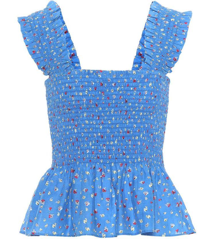 Beacon blue cotton and silk top