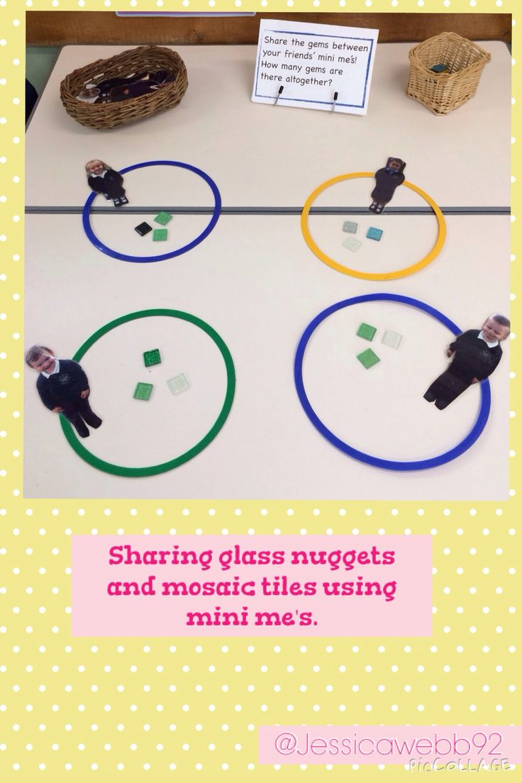 Sharing glass nuggets between our friends' mini me's. EYFS