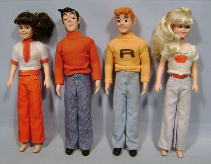 1975 ARCHIES SET OF 4 COMIC FIGURES by MARX - ARCHIE, BETTY, JUGHEAD & VERONICA