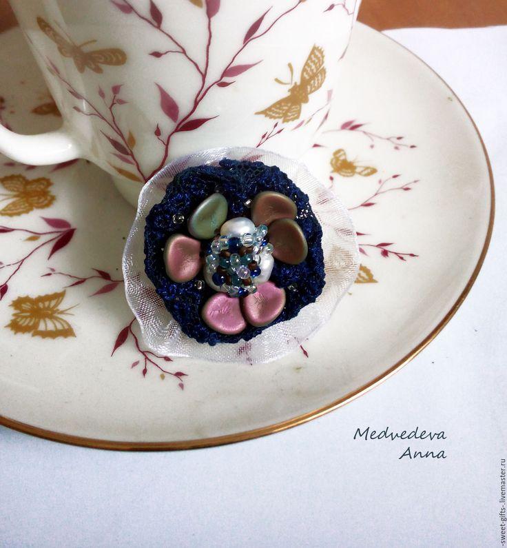 """Купить Крупное кольцо. Кольцо с жемчугом. Бижетерия ручная работа """"Цветы"""" - тёмно-синий, синий"""
