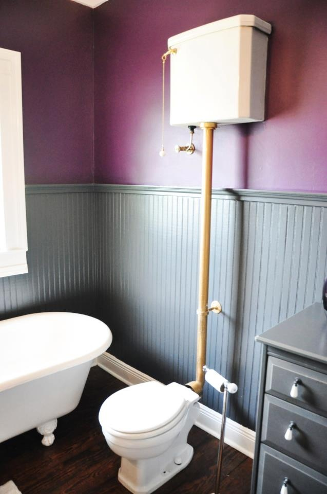 High Tank Pull Chain Toilet New Office Bathroom