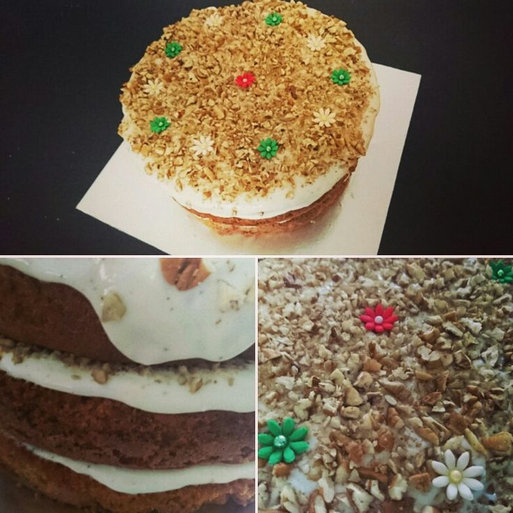 3 Tier Carrot Cake with cream cheese icing and pecan nuts. Decorated with edible glitter and fondant flowers #weddings