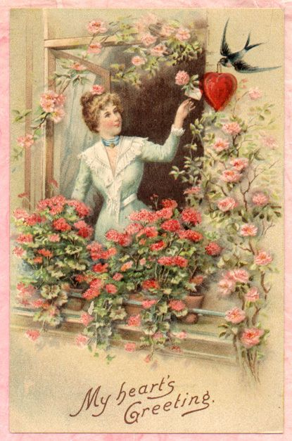 'My Heart's Greeting' ~ Vintage Valentine postcard.
