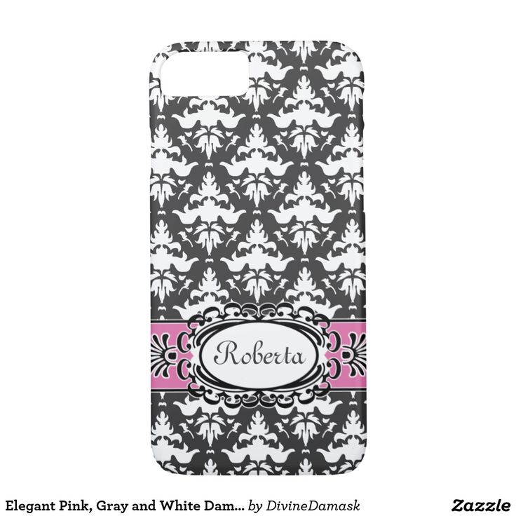 Elegant Pink, Gray and White Damask iPhone 7 Case