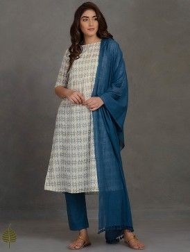 Lemon-Ivory Block Printed Pleated Cotton Kurta by Jaypore