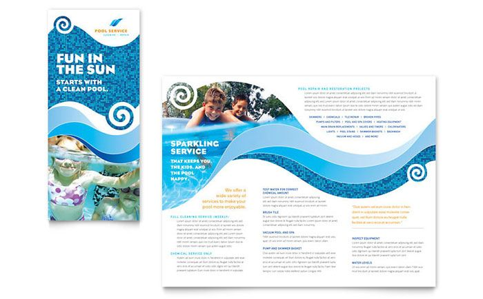 Swimming pool cleaning service brochure design template by for Pool design templates