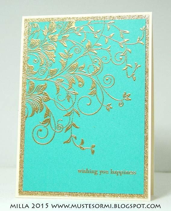 handmade card ... regal look ... gold mat and golden embossed flourishes on turquoise ... lovely