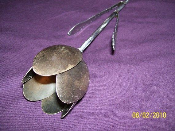 Welded Steel Tulip: Welding Projects, Silverware Creations, Metals Stuff, Metals Art, Welding Steel, Steel Tulip, Tulip Metals, Flower, Welding Art