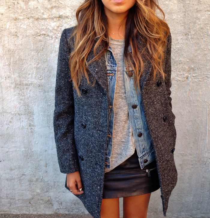 Zara Leather Skirt, Madewell-Tee, J Crew Denim Jacket & Colors of Benetton Coat #perfect #style