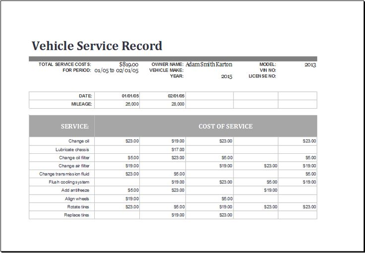 vehicle service record log template at wwwxltemplatesorg - payroll register template