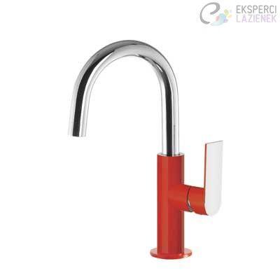 Bateria umywalkowa jednouchwytowa czerwony-chrom Loft Colors Tres 20020504ROD
