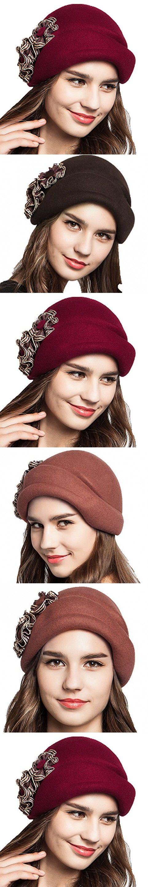 Supergirl Women hat Wool Beret Hat New Style Fashion Flower Homburg Hat Red