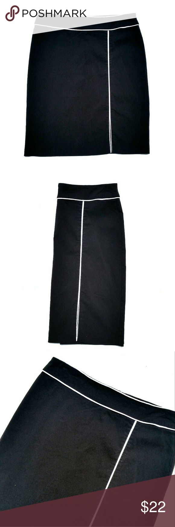 {Black & White Piped Pencil Office Skirt} Classic pencil skirt featuring white piping around the waist and down the front, ending in a small slit. Back zipper. Stretchy fabric made of rayon/nylon/spandex. Good condition.   Waist: 32 inches  Length: 22 inches   15% off bundles. Reasonable offers accepted. Meryl Diamond  Skirts Pencil