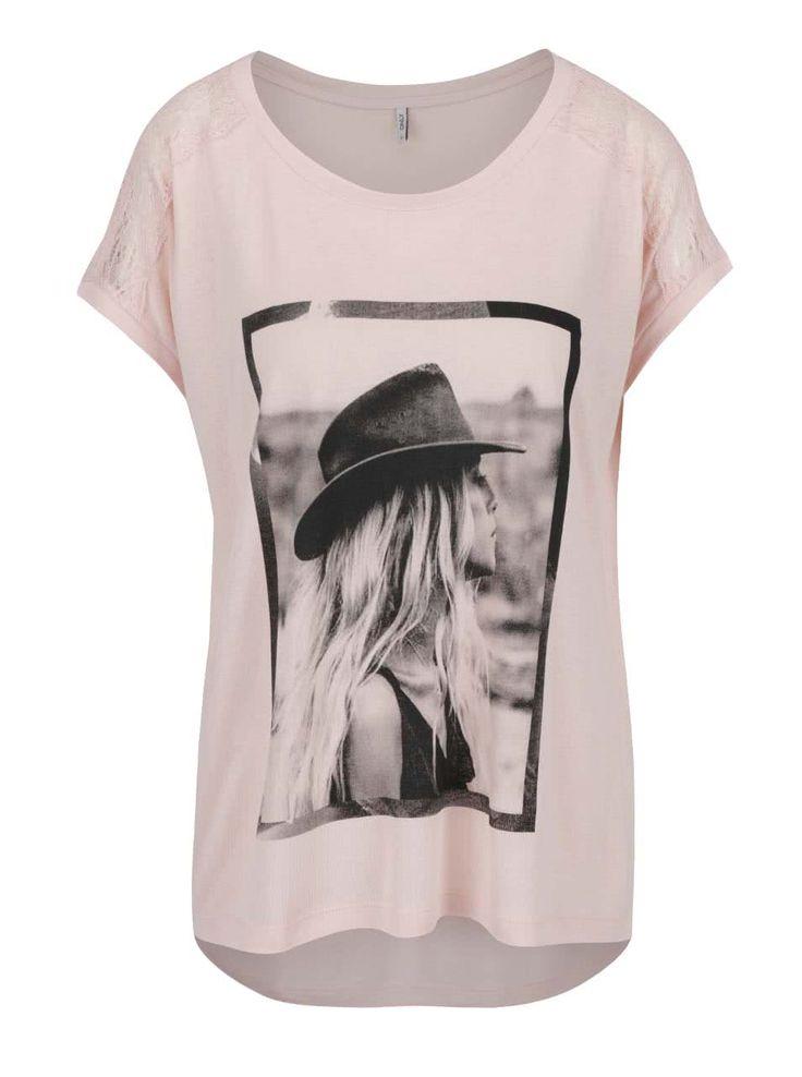 Svetloružové tričko s čipkou na ramenách ONLY Alessa