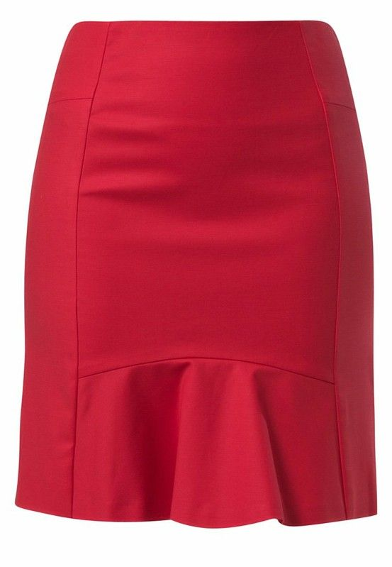 I like this style of skirt. Fitted with the flare by the legs. Needs to be just above knee length.