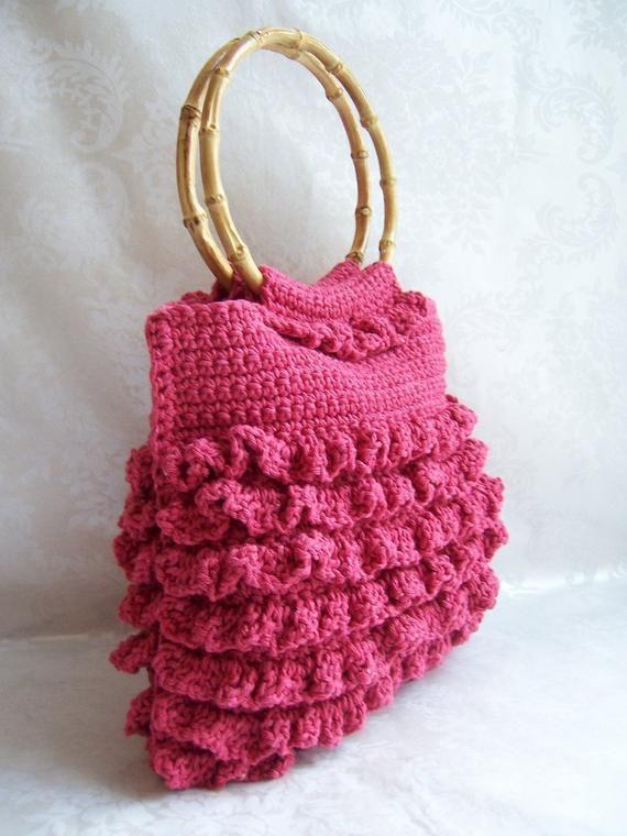 Uncinetto uncinetto borsa, borsa di Increspature, borsetta