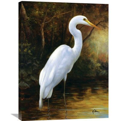 Global Gallery 'Evening Egret' by Kilian Painting Print on Wrapped Canvas | Wayfair
