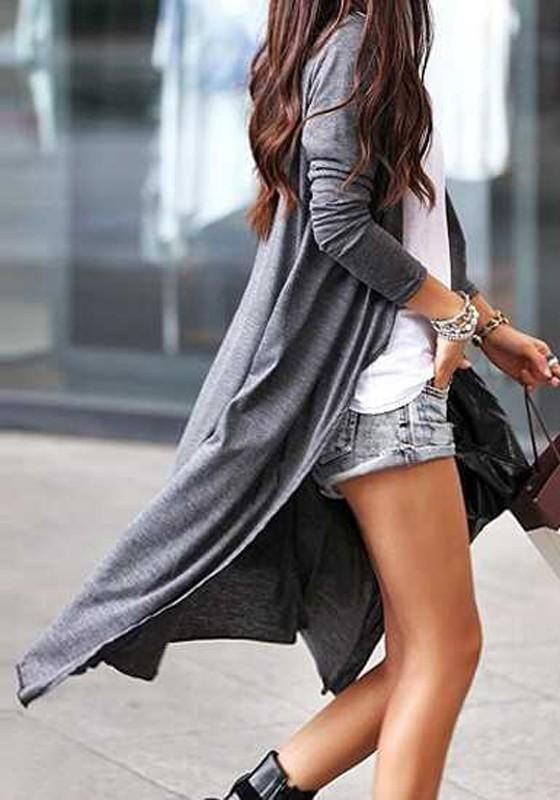 Dark Grey Plain Single Breasted Long Sleeve Casual Long Modal Cardigan
