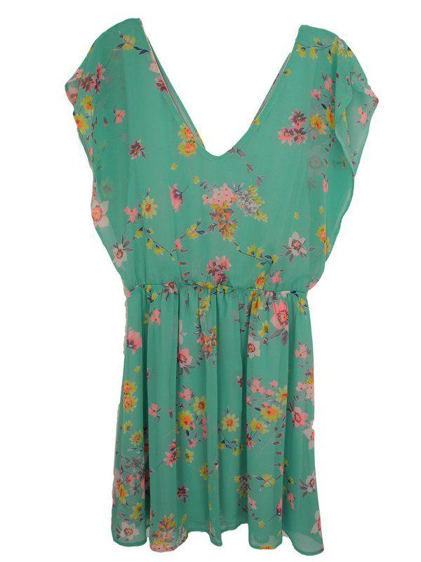 robe courte voile décolleté V imprimé fleuri sur cpourl.fr Vintage Love #CpourL